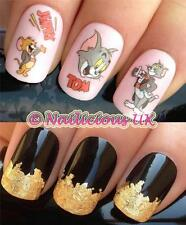 NAIL ART SET #43 TOM & JERRY FIGURES WATER TRANSFERS/DECALS/STICKERS & GOLD LEAF