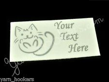 """Kitty Scribble - """"Iron On or  Sew In"""" - Cotton Fabric Labels - Yarn Friendly"""