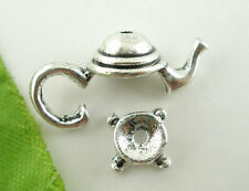 20Sets Hot Sell Silver Tone Teapot Bead Cap Set Findings 21x9mm