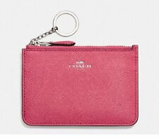 NWT Coach Crossgrain Leather Key Pouch Wallet F57854 Strawberry Pink $65