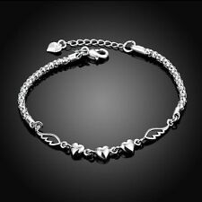 Charms Silver Plated DIY Jewelry Bead Charm Bracelets Love Heart Pandora Women