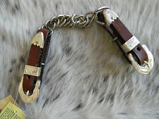 Medium Oil Leather Western Curb Chain Engraved Silver Show Hardware Horse Tack
