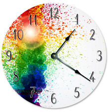 "COLORFUL PAINT RAINBOW Clock - Large 10.5"" Wall Clock - 2290"