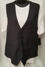 Point Zero NWT Men's Black/White/Blue Striped Design 2pc Vest/Shirt Size M