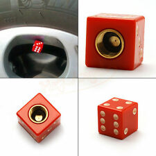 4pcs Universal Red Dice Car Truck Bike Tire air Valve Stem Caps Cover Wheel Rims
