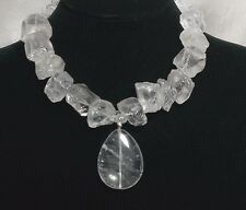Handmade Crystal Clear Quartz Necklace Sterling Silver Pendant Gemstone Ice Raw