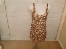 LADIES TOPSHOP VINTAGE STYLE HEAVY GOLD BEADED DRESS SIZE 10 LIMITED EDITION