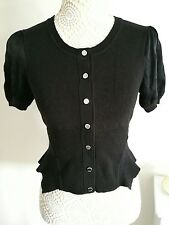 Karen Millen size 6 black cardigan silk sleeves and shaped hip and waist area