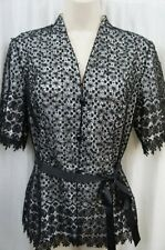 Alex Evenings Blouse Sz L Black White Lace Embellished Formal Evening Womens Top