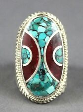 Nepal Tibetan Silver Oval Ring with Turquoise & Carnelian Size 9.5 USA SELLER