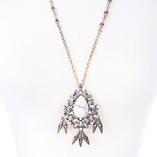 N3398 White Cobblestone Beads & Vintage Fringe Aventine Long Pendant Necklace
