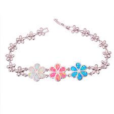 """White Pink Blue Fire Opal Silver Women Jewelry Gems Chain Bracelet 7 1/2"""" OS576"""