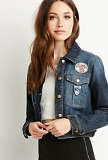 NWT Forever 21 F21 Patched Cropped Denim Jacket XS - Dark Blue Wash Zara H&M AEO