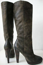 Frye Harlow campus bottes femmes cuir talons hauts LUXE Boots marron taille 37/7m NEUF