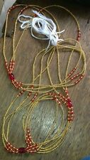 """African  Gold & Red Waist Beads, 3-in-1, 45""""inches long New"""