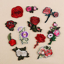 11Pcs Embroidered Sew Iron on Patch Badge Rose Flower Shape Bag Dress Applique