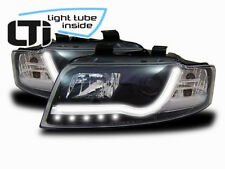 Light Tube LED front headlights in BLACK DRL look fit for Audi A4 B6 00-04