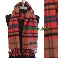 New 100% CASHMERE SCARF MADE IN SCOTLAND PLAID Check Camel/Coral/blue/black SOFT