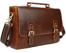Mens Genuine Leather Tote shoulder Briefcase 14'' Laptop Bag Business Satchel