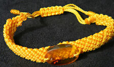 Amber Dominican Bracelet Republic Rock Stone Hand-Made Yellow Adjustable