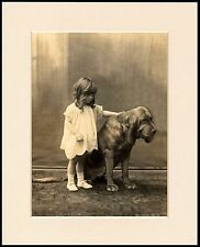 BLOODHOUND AND SMALL CHILD CHARMING DOG PRINT MOUNTED READY TO FRAME