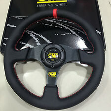 OMP 330mm Diam Leather Flat Steering Wheel MOMO Nardi Racing Drifting Rally RedS