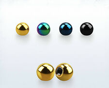 2-10PC Barbell 2-6mm Ball Replacements Jewelry 14G-16G Threading Anodized Steel