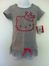 Hello Kitty Gray Shirt Tulle Ruffle Hot Pink Bow Glitter Kitty SS Size 4 NWT