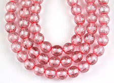 6mm 50pcs Czech Pink Silver Speckle Round Pressed Glass Beads Jewelry Spacer