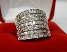 LARGE 1 CT Round Baguette Diamond Fashion Statement Wide Band Ring Silver Sz 6