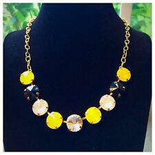 SWAROVSKI CRYSTAL ELEMENTS EARRING NECKLACE SET 12MM Black And Yellow