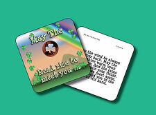 """""""May Road Rise"""" Poem - 1 Shamrock Coin - Carded Genuine US Penny - sku 880"""