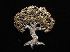 """JJ"" Jonette Jewelry Silver & Bronze Pewter 'Country Time Tree' Pin"