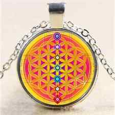 Gold Flower Of Life Cabochon Glass Tibet Silver Chain Pendant Necklace