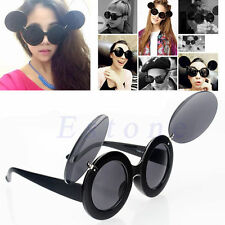 Retro Fashion Trend Lady Gaga Style Mickey Mouse Flip Up Round Shade Sunglasses