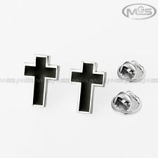Buy 2 Get 1 Free Crucifix Cross Black Silver Shirt Pin Brooch Down Collar Tips