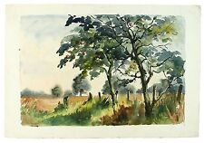 Apple Orchard Signed Unframed Landscape Watercolour Painting M Harrison Retro