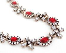 RED CLEAR WHITE FLOWER CRYSTAL RHINESTONE Gold Choker Pendant Statement Necklace