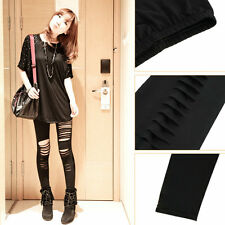 Women Lady Punk Hole Ripped Slit Split Party Gothic Tights OE