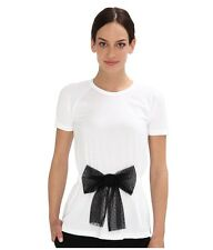 RED Valentino Cotton Point D'Esprit Bow Tee NEW Sz XS white top t-shirt