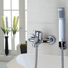 US Chrome Wall Mounted Bathroom Bathtub Shower Faucet Set Mixer + Hand Sprayer