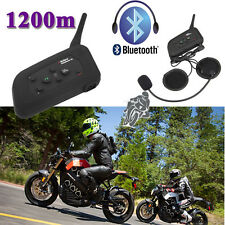2x V6 1200M BT Casco De Moto Bluetooth Interphone Intercomunicador 6 Pilotos