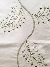 P KAUFMANN DIVINE LEAF SAGE GREEN EMBROIDERED COTTON DRAPERY FABRIC OUTLET BTY