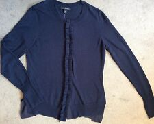 BANANA REPUBLIC NAVY BLUE CARDIGAN WITH RUFFLE & 3 BACK TRIMS ONE IN BLACK -S