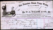 1877 San Francisco Steam Pump Works W C Wilcox & Co Vintage Letter Head Rare