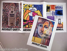 Absolut Vodka Four-Page PRINT AD - 1992 ~~ Warhola, Jenson,Gartel, Britto