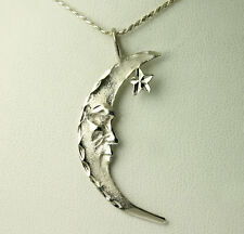 Vintage Sterling Silver Diamond Cut Matte Crescent Moon Star Rope Chain Necklace