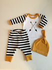 Newborn Baby Girl Boy Clothes Long Sleeve Striped Tops+Pants 3pcs Outfits Set