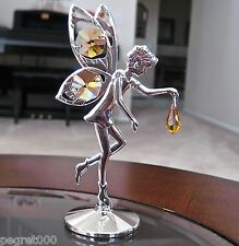 Fairy Figurine made with Swarovski  Topaz Octagon / Drop Prisms Silver Plated