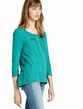 Lucky Brand - XL - NWT  Jade Green Lace Detail Cotton Henley Hi/Low Knit Top Tee